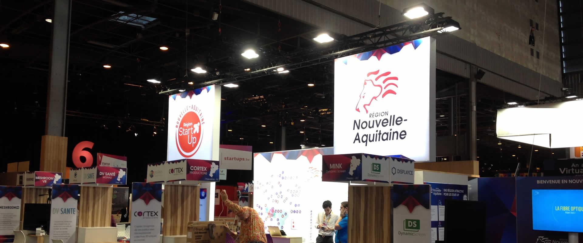 Visuel Stand Région Nouvelle-Aquitaine sur Viva Technology avec Novelty